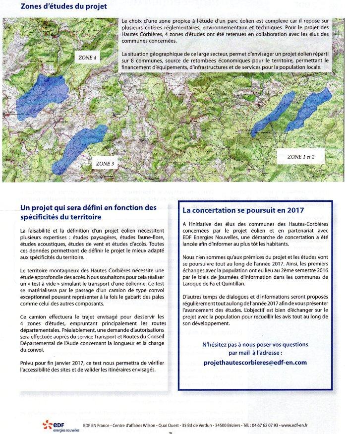 Projet Eolien des Hautes Corbières Lettre 1