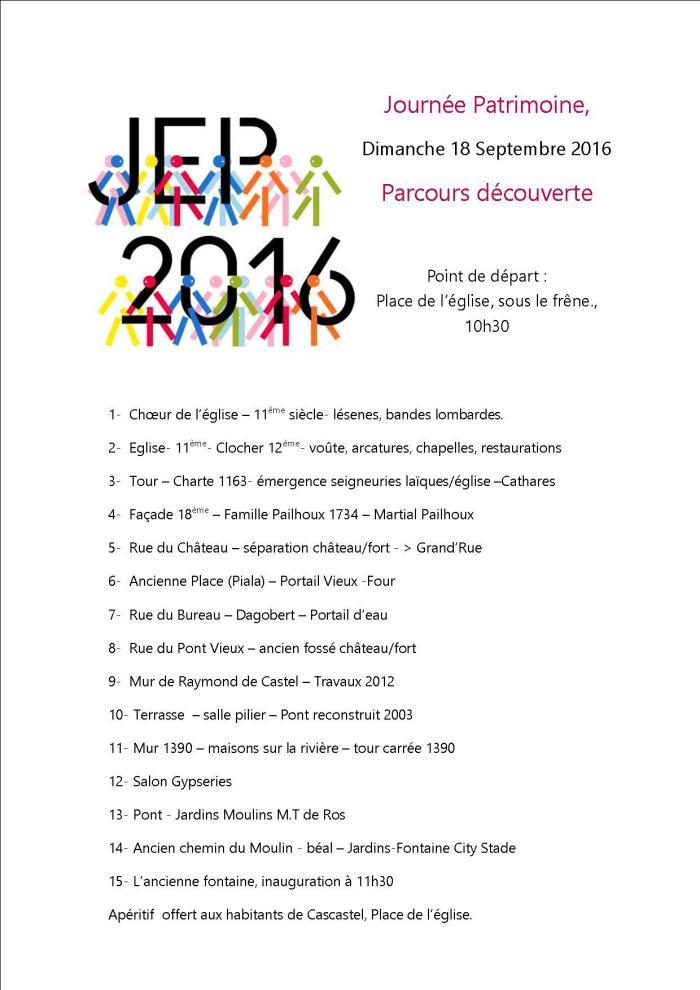 Parcours découverte JEP 2016