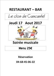 Soirée Musicale Clos de Cascastel Jeudi 17 Août