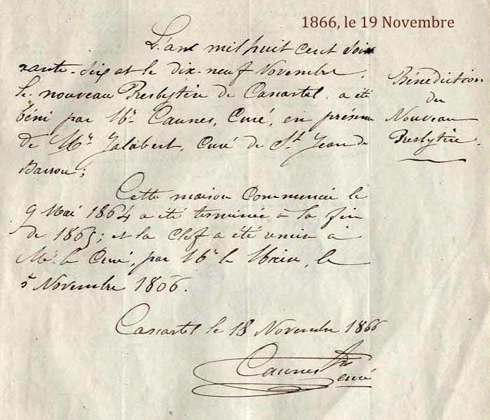 19 Novembre 1866, Bénédiction du Presbytère restauré