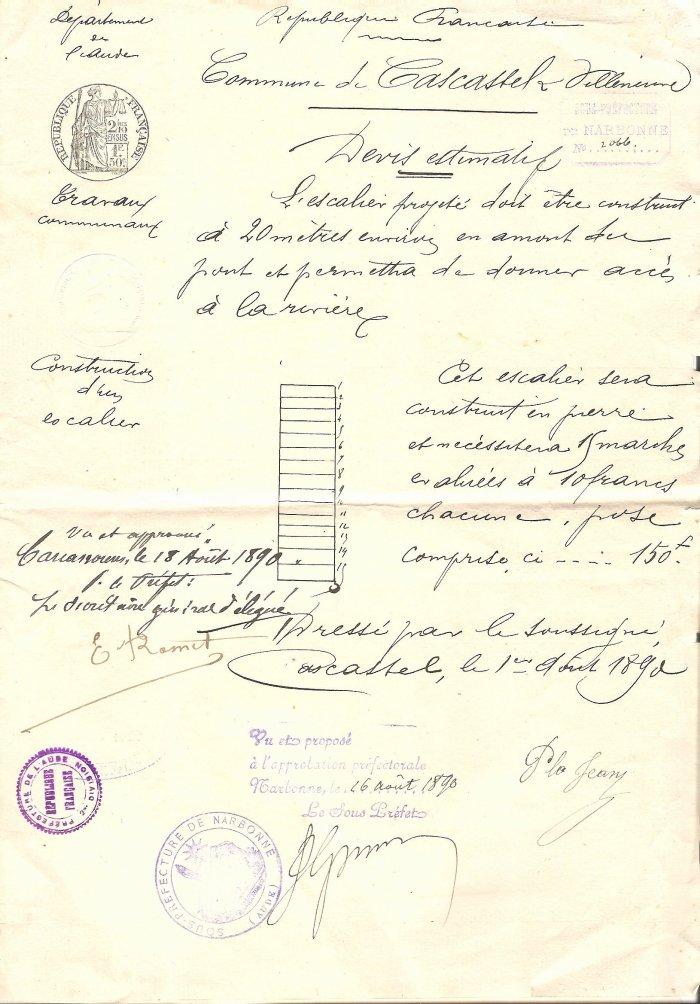 1890 Devis escalier Quai Berre