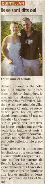 Mariage Marianne Benoit Rivière
