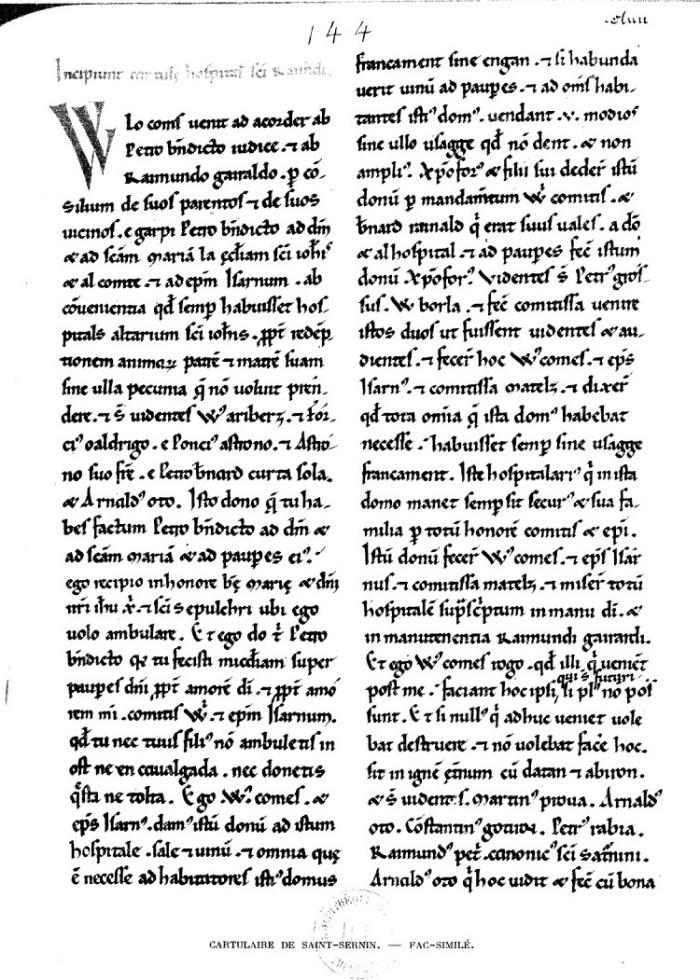 Cartulaire Saint Sernin Toulouse