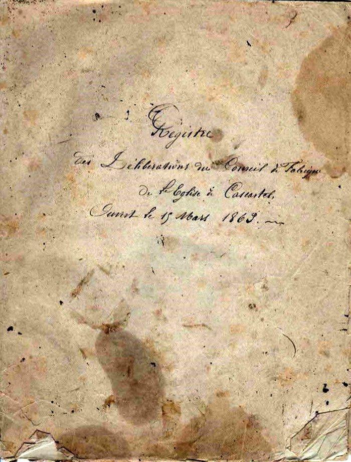 Registre Conseil Fabrique, 15 Mars 1863
