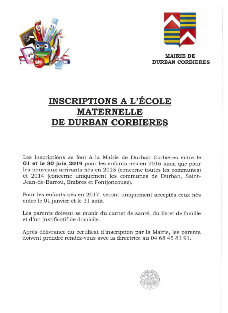 2019-06-04-Inscriptions Maternelle-Durban